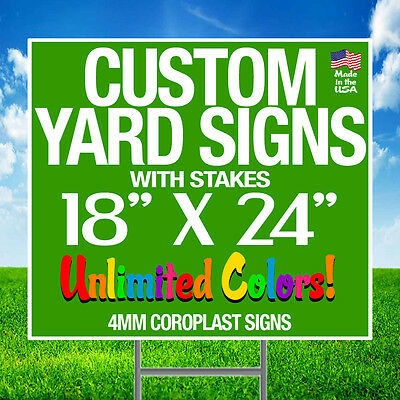 10 18x24 Full Color Yard Signs Custom 2-Sided + Stakes