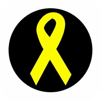 YELLOW RIBBON pin button Awareness support our troops