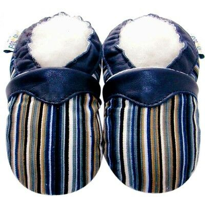 Soft Sole Leather Baby Shoes Toddler Prewalk Gift Boy Infant Kid StripeNavy 0-6M