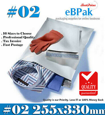 100x Poly Mailer 255x330mm #02 Courier Bag Self Sealing Mailing Satchel - PM02
