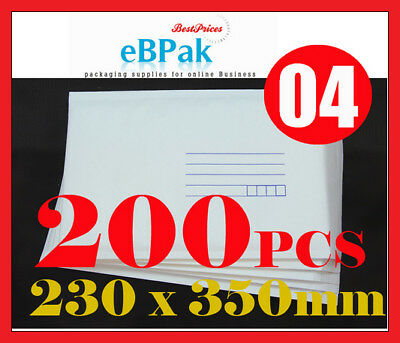 200x Bubble Mailer #04 230 x 350mm for 2 DVD CD - White Kraft Cushioned Envelope