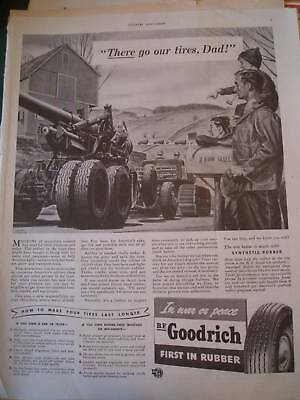 1940 B F GOODRICH TIRES there go our tires, WWII , ad