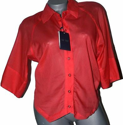 NWT ARMANI JEANS 10 orange blouse top shirt authentic light gauzy semi sheer