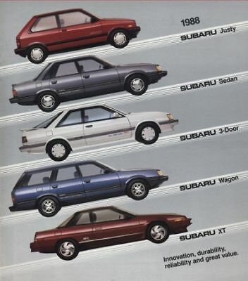 1988 Subaru Line Sales Brochure Justy RX Turbo XT GL