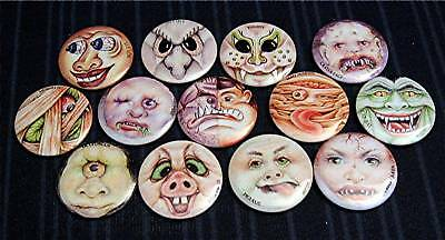 13 Monster Goulie Face Old Vend Machine Pinback Buttons