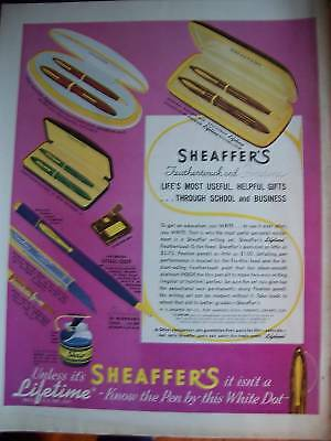 1938  Sheaffer's Fineline Feathertouch Pencil Pen Ad