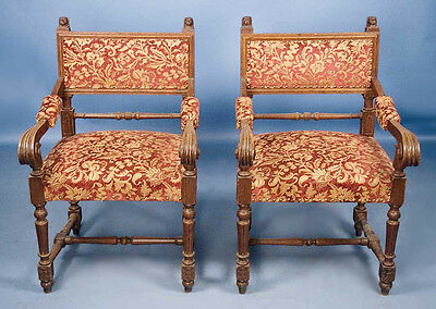 Pair of English Antique Victorian Oak Armchairs