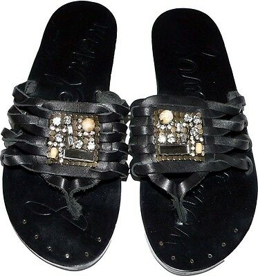 557e3eb4d NEW SAM EDELMAN Bryce 6.5 M sandals thongs shoes jeweled slides leather  black