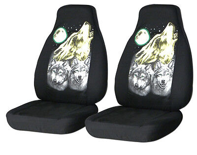 Cool set of howling wolves car seat covers ,choose color&back seat available
