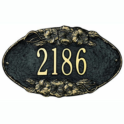 Whitehall Plaque - Pansy Oval Cast Aluminum Wall Sign