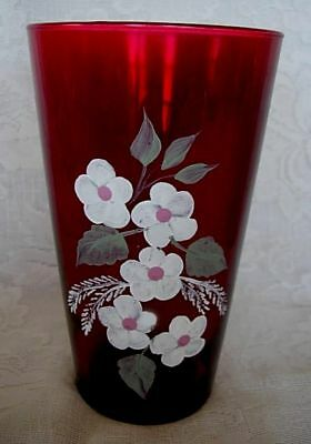Collectible Large Ruby Red Blown Glass Vase w/Hand Painted Daisies