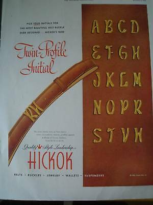 1950 WALLETS AND BELTS  twin profile initial  Hickok ad