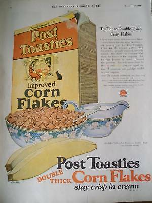 1950 CEREALS post toasties double thick corn flakes ad