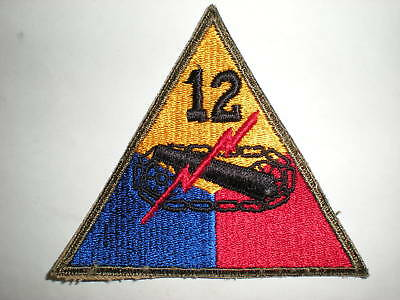 US ARMY 12TH ARMORED DIVISION PATCH - ORIGINAL WWII ERA