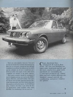 1975 Lancia Beta Road Test Dealer Sales Brochure