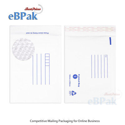 500x Bubble Envelope #01 160x230mm White Kraft Padded Bag Mailer BM1 Size