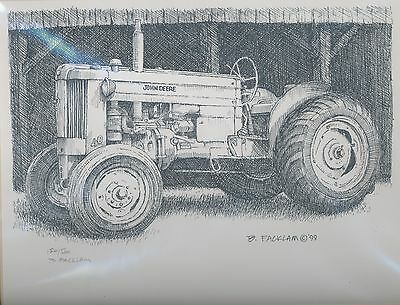 John Deere 40 Tractor Limited Edition Signed Print #'d 154/500