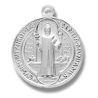 Sterling Silver Small Saint St Benedict Patron Medal w Stainless Chain Gift Boxd
