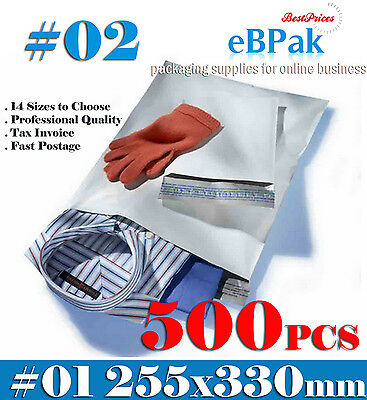 500x Poly Mailer #02 255x330mm Courier Bag Plastic Mailing Satchel - PM02