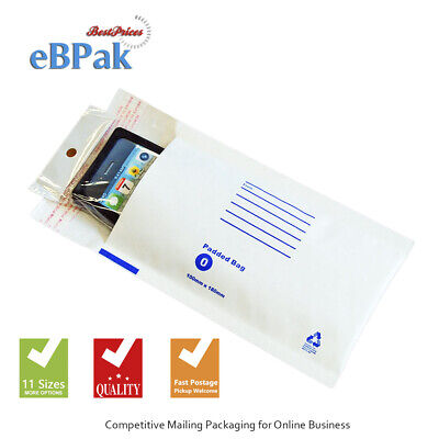 200x Bubble Envelope Padded Bag #00 100x180mm White Cushioned Mailer