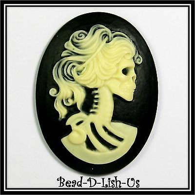 1 x Skeleton Lady  - 40x30mm Resin Cameo victorian gothic cabochon DIY B&I