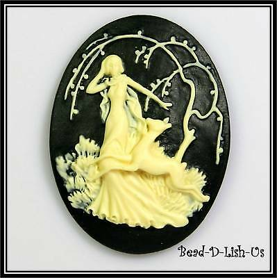 1 x Diana Goddess Of Hunt - 40x30mm Resin Cameo victorian gothic cabochon DIY