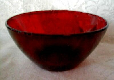 Beautiful Ruby Red Glass Bowl - Hard to Find This Large