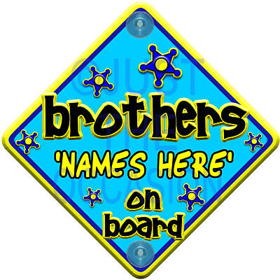 PERSONALISED Blue & Yellow  FUNKY BROTHERS  Baby on Board Car Window Sign
