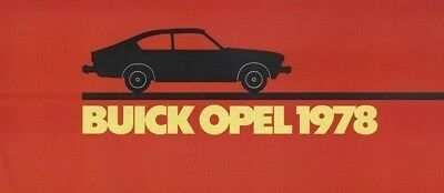 1978 Buick Opel Original Sales Brochure Book