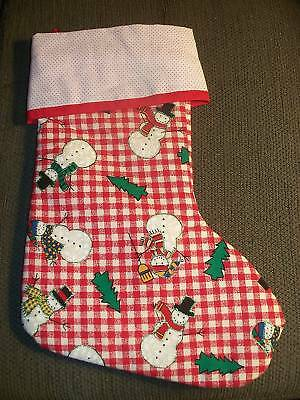 Handmade Christmas Stocking,Red & White Check w/snowmen COMPLETELY LINED