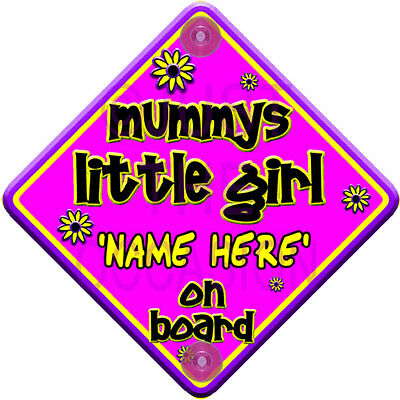 PERSONALISED FLORAL Purple & Pink ~ MUMMYS LITTLE GIRL ~ Baby on Board Sign