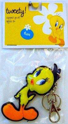 Porte-Cles Titi Tweety Warner Bros Licence Zipper Pull Keychains Keyrings Rare