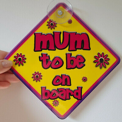 FLORAL ~ Purple & Pink ~ Pregnancy MUM TO BE ~ Baby on Board Car Window Sign