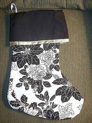 Handmade Christmas Stocking, B &W  pointsettia on white COMPLETELY LINED