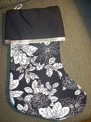 Handmade Christmas Stocking, B & W pointsettia & rose on blk COMPLETELY LINED