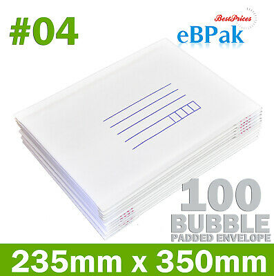 100x Bubble Mailer  #04 230mm x 350mm White Cushioned Envelope Padded Bag