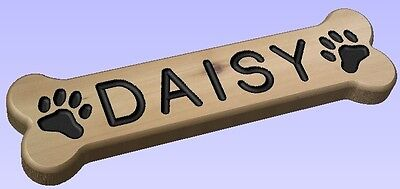 Bone Shaped Custom Routed Western Red Cedar Wood Sign Dog Name Plaque