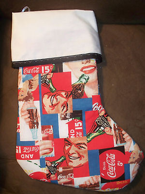 Handmade Christmas Stocking, Old Time Coca-Cola print COMPLETELY LINED