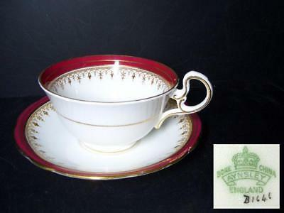 BEAUTIFUL AYNSLEY DURHAM CUP & SAUCER -MAROON B1646 [2]