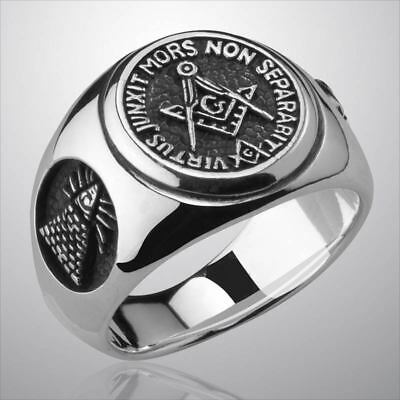 Masonic Freimaurer Compass & Square Silber 925 Sterling Ring