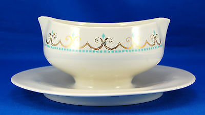 Iroquois Inheritance COTILLION Gravy Boat and Attached Underplate 7.75 in. Gold