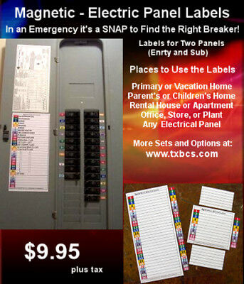 Circuit Breaker Panel Directory Labels  30 & 11 Position Labels Magnetic / Save