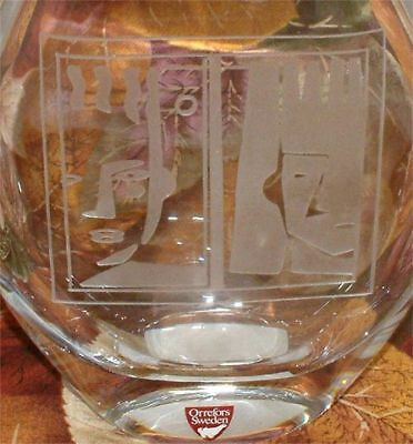 ~Orrefors Cystal~GLANZE Vase~NWT~Rtl $175~Etched Faces~