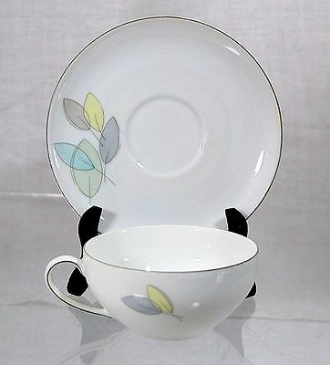 VTG Mid-Century Modern Arzberg Pastel Yellow Blue Green Leaves Cup & Saucer Set
