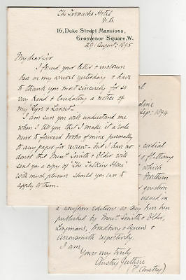 """English Novelist """"F. ANSTEY"""" Two Autograph Letters"""