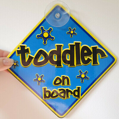 Non Personalised FUNKY Blue & Yellow ~ TODDLER ~ Baby on Board Car Window Sign