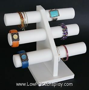 White Leather T-Bar 3 Tier Bracelet Chain Bangle Watch