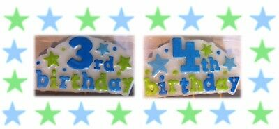 Boy Birthday Supplies - Candle - Handpainted Stars Numbered 3rd & 4th -LAST ONES