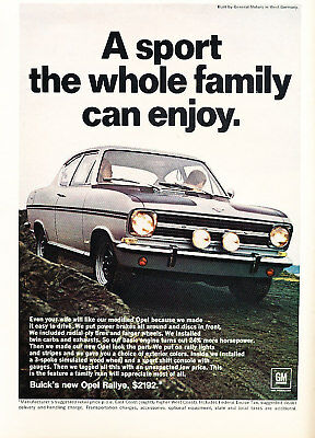 1967 Buick Opel Rallye Original Classic Car Vintage Print Advertisement Ad