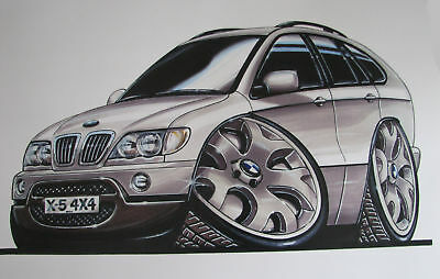 BMW X5 E53 Caricature A3 Print by Koolart